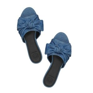 2a684a269 Tory Burch. Tory Burch Annabelle Chambray Bow Slide Sandal